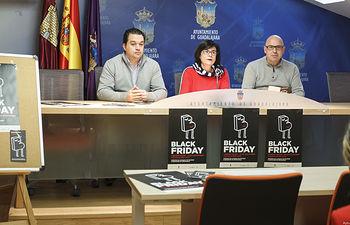 Presentación de la campaña del Viernes Negro (Black Friday) del 23 de noviembre, Miguel Santos Villa, presidente de FCG, Ángel Escribano, presidente de Fedeco