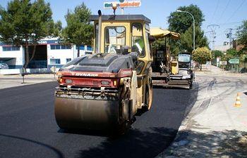 Obras asfaltado Campollano. Archivo.