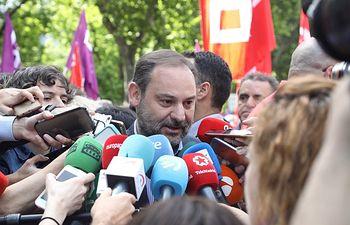 José Luis Ábalos en la manifestación por el 1º de Mayo en Madrid.
