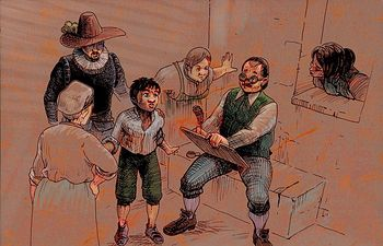 """Ilustración de un escribano, es una imagen que pertenece a la novela anónima """"La vida de Lazarillo de Tormes, y de sus fortunas y adversidades""""."""