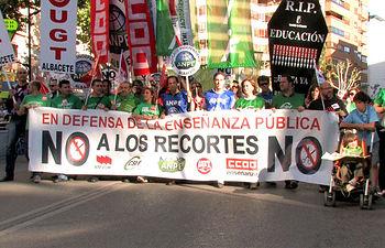 Manifestación en Albacete contra los recortes en Educación.
