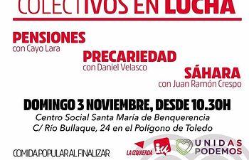 Izquierda Unida celebrará un acto con colectivos en lucha en Toledo