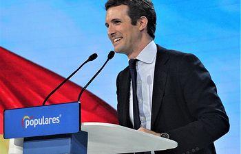 Pablo Casado, presidente del Partido Popular, durante su discurso de clausura en la Convención Nacional del PP de este año 2019.