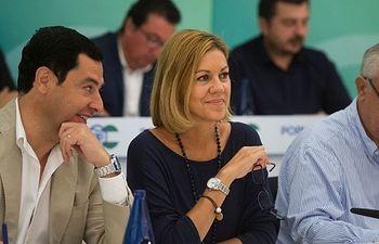 Mª Dolores de Cospedal y Juanma Moreno en la Junta Directiva regional del PP Andaluz