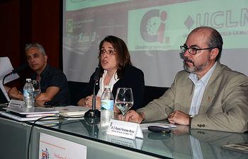 Profesores Felipe Gértrudix, Asunción Manzanares y Ricardo Fernández en la inauguración de las jornadas.