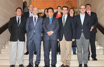 Durante la recepción oficial ofrecida al alcalde de Manta (Ecuador)