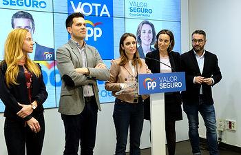 13/4/2019. Andrea Levy en rueda de prensa con los candidatos de los populares riojanos. Riojapress