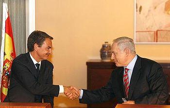 José Luis Rodríguez Zapatero y Benjamin Netanyahu. Foto: POOL