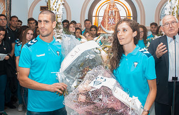 Ofrenda floral del Albacete Balompié a la Virgen de Los Llanos. Foto: Albacete Balompié