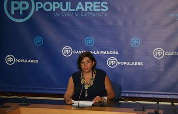Arnedo en rueda de prensa en las Cortes de Castilla-La Mancha