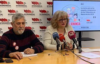 Nacho Monreal (STE-CLM) y Marta Arias (miembro Tribunal Inglés Oposiciones 2018)