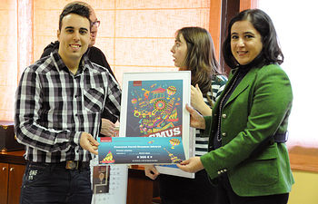 David López Arnanz, junto a la vicerrectora de Relaciones Internacionales y Formación Permanente, Fátima Guadamillas