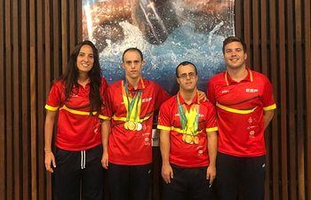 Los deportistas de ASPRONA se traen del Mundial de Natación ocho medallas de oro y una plata