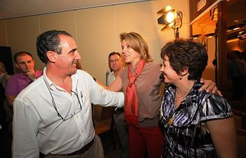 María Dolores Cospedal, junto a Manuel Mínguez y Mari Carmen Álvarez.