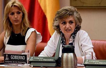 María Luisa Carcedo en su comparecencia en la Comisión de Sanidad, Consumo y Bienestar Social del Congreso.