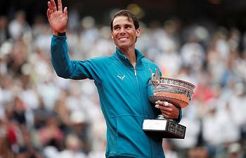 Rafael Nadal, ganador del torneo de Roland Garros de la edición 2018. Domingo, 10 de junio. Foto: Twitter Roland Garros.