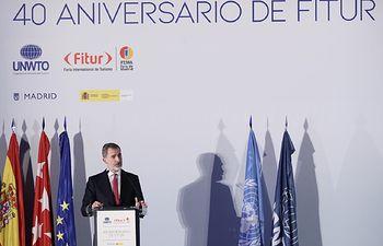Su Majestad el Rey dirige unas palabras con motivo del 40º Aniversario de FITUR. Foto: Casa de S.M. el Rey