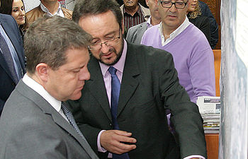 El alcalde Toledano y el presidente Page, en la visita que éste cursó hace poco más de un año a Brazatortas