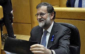 El presidente del Gobierno, Mariano Rajoy, durante la sesión de control al Gobierno en el Senado.
