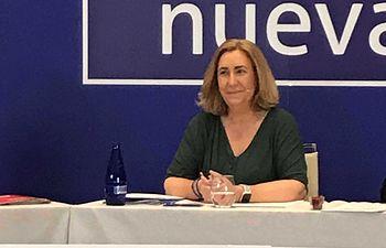 Silvia Valmaña durante el debate electoral.