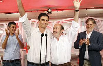 Alfredo Pérez Rubalcaba y Pedro Sánchez, en Ferraz