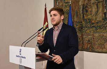 El portavoz del Gobierno regional, Nacho Hernando, informa sobre diversos asuntos de interés regional. FOTOS: José Ramón Márquez. JCCM.