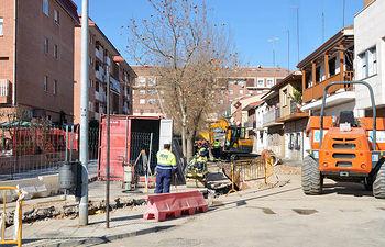 Imagen de archivo de las obras acometidas en el colector de la calle San Miguel a principios de año. Fotografía: Ayuntamiento de Azuqueca
