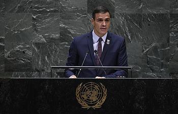 El presidente del Gobierno en funciones, Pedro Sánchez, durante su intervención en el 74 periodo de sesiones de la Asamblea General de Naciones Unidas. Foto: AFP or Licensors