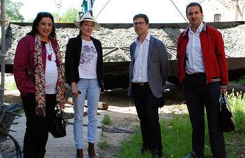 Guadamillas, Iglesias, Corroto y Martín durante la visita.