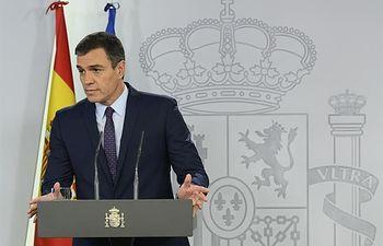 El presidente del Gobierno en funciones, Pedro Sánchez, comparece ante los medios de comunicación, con motivo de la sentencia dictada por el Tribunal Supremo sobre el 'procés'.