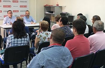 Rueda de prensa en la sede de CCOO en Talavera de la Reina (Toledo).
