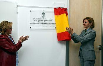 María Dolores Cospedal inaugura el Ayuntamiento de Menasalbas (Toledo).