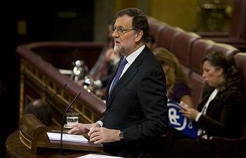 El presidente del Gobierno en funciones, Mariano Rajoy, durante su comparecencia en el Congreso para informar de la Cumbre de la UE que abordó la situación de los refugiados en Europa.