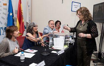Asamblea Extraordinaria de carácter electoral que la entidad celebró este lunes en el Centro Deportivo y Cultural de la ONCE en Madrid.