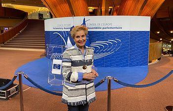 Carmen Quintanilla en la Asamblea Parlamentaria del Consejo de Europa.