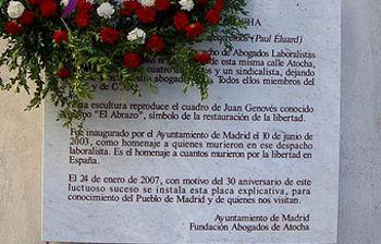 Placa en Madrid a los abogados de Atocha