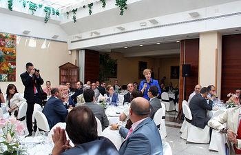 La vicepresidenta y consejera de Economía y Hacienda, María Luisa Araújo, ha asistido este mediodía a la Asamblea General Ordinaria de Ceoe-Cepyme Castilla-La Mancha, que se ha celebrado en Guadalajara.