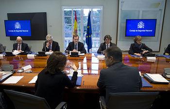 El presidente del Gobierno, Mariano Rajoy, preside la reunión del Consejo de Seguridad Nacional en La Moncloa.