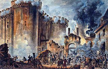 """Revolución francesa. """"Toma de la Bastilla"""". En el centro se apreciaba el arresto del marqués de Launay."""