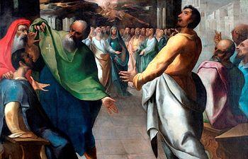 El Museo del Greco expone 'Pentecostés' de Herrera el Viejo tras su restauración.