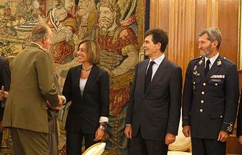 Carme Chacón en la reunión del Consejo de Defensa Nacional. Foto: Ministerio de Defensa
