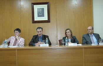 De izqud a dcha: Francisco Escribano López, Nicolás García Rivas, Esther Sánchez y Javier Vecina
