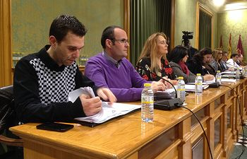 Los concejales del Grupo Municipal Ciudadanos durante el pleno de febrero de 2018.