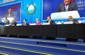 Carmen Quintanilla participa en Cumbre Mundial sobre Paz, Seguridad y Desarrollo Humano.
