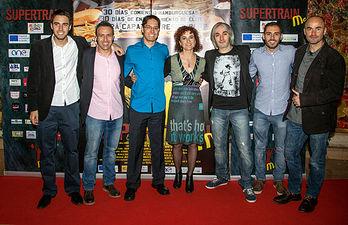 El equipo de Super Train Me durante el estreno en el cine Palafox, en Madrid.