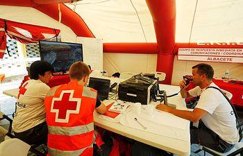 Cruz Roja en el incendio de Yeste