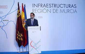El presidente del Gobierno, Mariano Rajoy, durante su intervención en el acto sobre infraestructuras en la Región de Murcia.