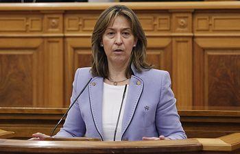 Ana Guarinos durante su intervención en el pleno de las Cortes de CLM