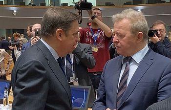 Luis Planas al inicio del consejo de ministros de la Unión Europea.