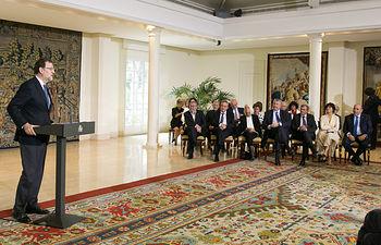 El presidente del Gobierno en funciones, Mariano Rajoy, interviene durante el acto de entrega de las Medallas de Oro al Mérito en el Trabajo.